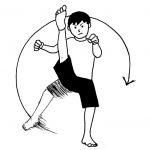 坐骨神経痛の予防や改善に適している空手の基本稽古、外回し蹴り、内回し蹴り。